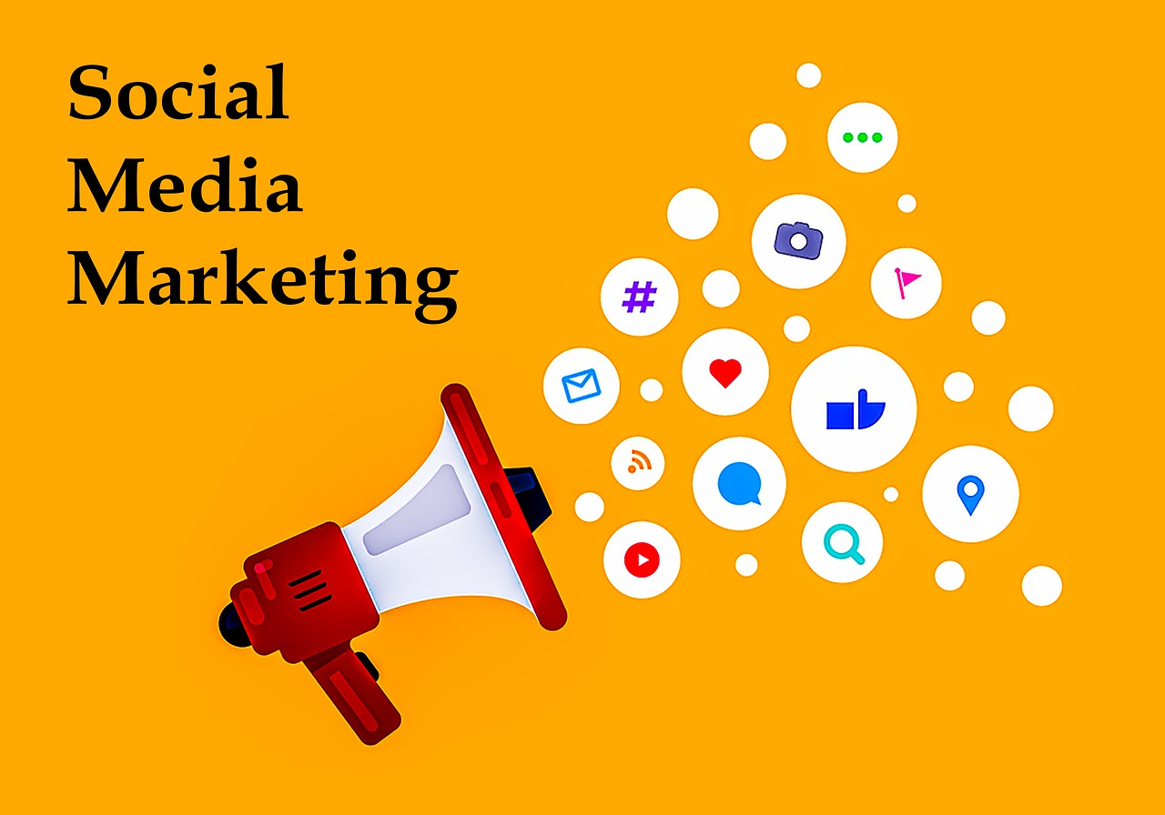 A yellowish illustration of megaphone with social media marketing writing and icons.