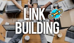 A photo of people having a business meeting and a link building logo on top of the image, representing how link detoxing is as important as link building.